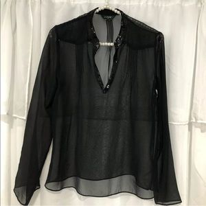 J.Crew black sheer sequin trim split neck blouse S